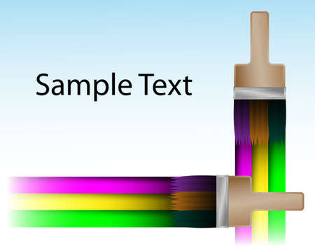 paint samples: Abstract background. A brush drawing a three-coloured rainbow