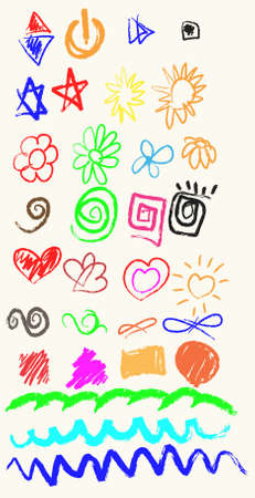 Vector elements of design stylised under childrens drawing a pencil. Sketch. Vector
