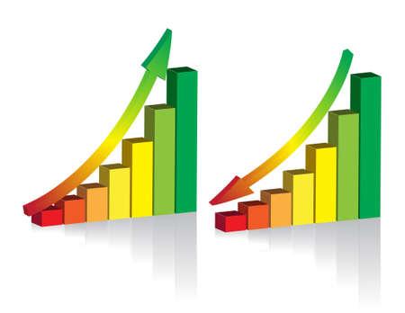 achievement charts: 3D vector graph template Illustration