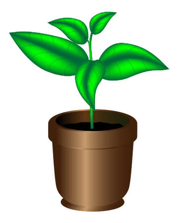 Sprout in the flowerpot, Vector illustration on an ecological theme Stock Vector - 10639009