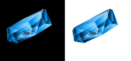Blue jewel on a black and white background. Vector