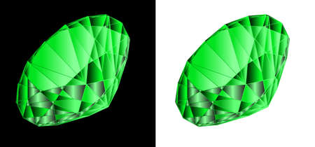topaz: Emerald on a black and white background. A vector illustration Illustration