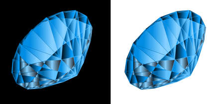 topaz: Blue jewel on a black and white background.