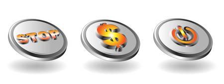 player controls: Icono de metal Set para aplicaciones Web - Vector Vectores