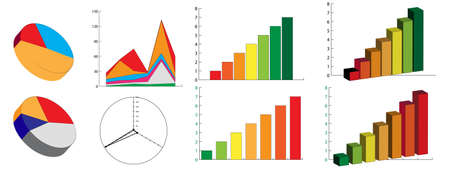 profit graph: Vector illustration of bar and pie chart