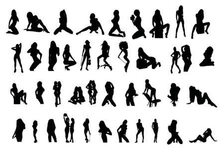 Vector silhouettes of girls Vektoros illusztráció