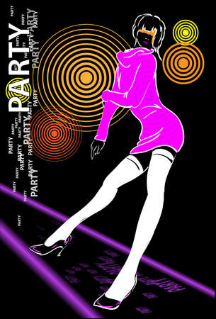 sexy woman disco:  Template flyer for party Illustration