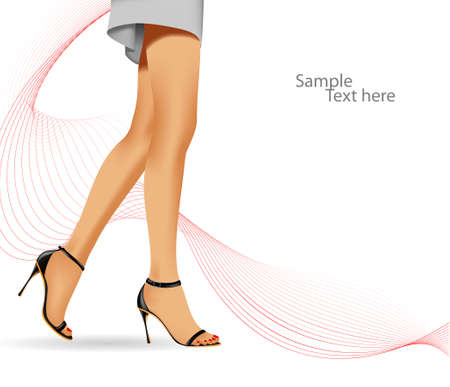 Beautiful female feet on a white background with a wave. A vector background on a business theme.  Look for more great images in my portfolio