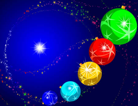 Card with the image of a Christmas sphere, on an abstract background Vector