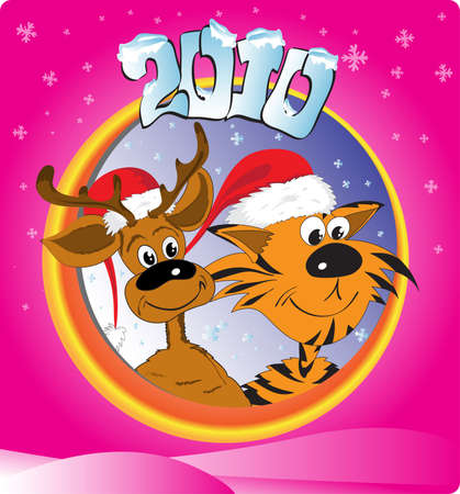 New Year's card with a tiger and a deer 2010