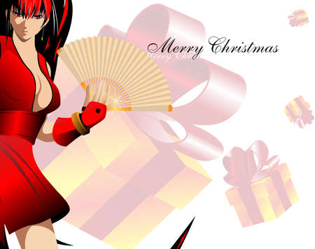 Gift card. The girl in anime-stylistics  with a fan against a gift box Vector
