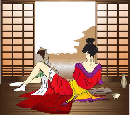 geisha kimono: The reflecting geisha Illustration