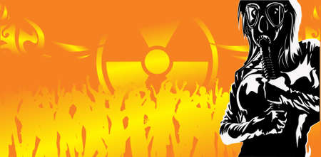 nuclear disaster: The vector girl in a gas mask against a radioactive party
