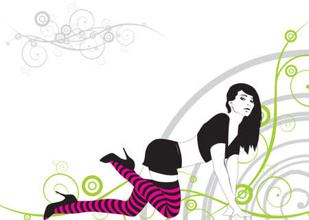 sexy stockings: The girl in striped stockings on an abstract background Illustration