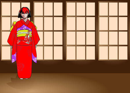 earing: The image of the girl in anime-stylistics in traditional Japanese clothes