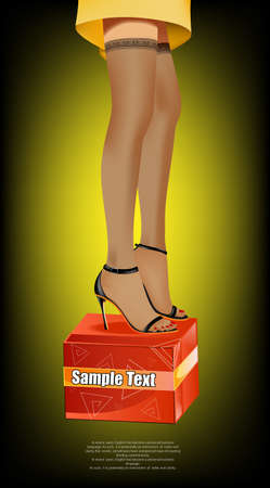 enterprise: Vector illustration. Business concept design. Beautiful female feet in stockings on a gift box.  Illustration