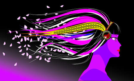 The image of the girl in stylistics anime with developing hair and flying petals of an Oriental cherry Vector
