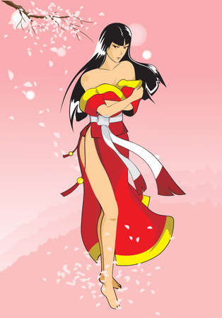 anime young: The image of the girl in stylistics anime standing under an Oriental cherry