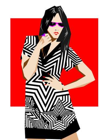 modernist: Fashion pop-art girl illustration
