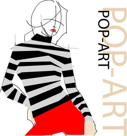 패션 팝 아트 여자의 그림 일러스트