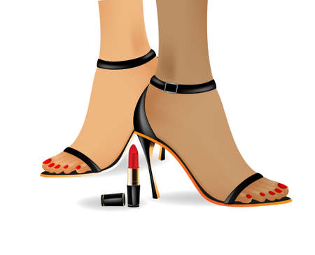 the red varnished shoes on a high heel and lipstick Vector