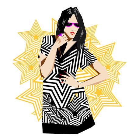 Fashion pop-art girl illustration Vector