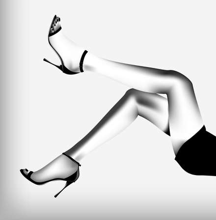 sexy legs: Beautiful female feet on a white background. The Black-and-white vector illustration.  Illustration