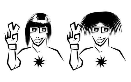 a bob: Vector boceto. Dos hippies estilizados Vectores