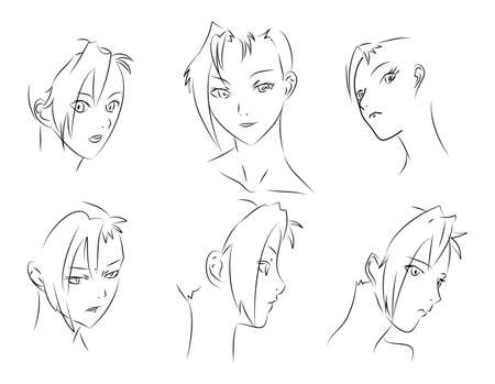 manga style: Set of vector sketches. A fine womans face for your design.