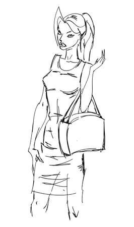 SKETCH. fashion girl. Hand-drawn fashion model. Illustration