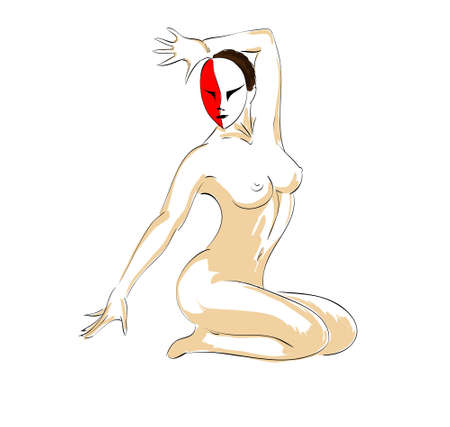 topless women: Vector illustration. Drawing of the nude girl