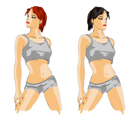 long life: Woman fashion illustration.Vector sketch of the sports girl