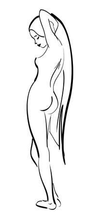Beautiful sexy nude girl Stock Vector - 10664312