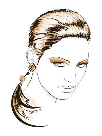 Hand-drawn fashion model. Vector illustration. Woman