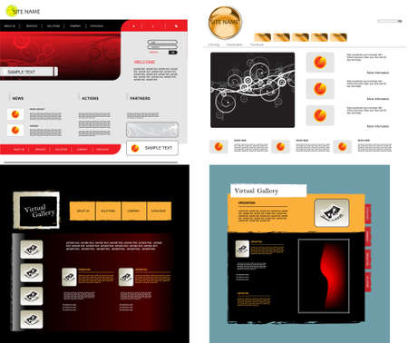 net bar: Set of vector web templates