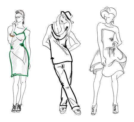 SKETCH. fashion girls Vector