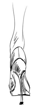 erotic: Sketch of female foot in  footwear