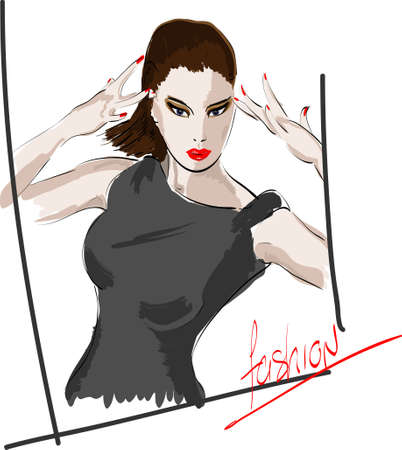 Woman fashion illustration.Vector sketch of the girl  Vector