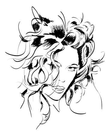 Hand-drawn fashion model. Vector illustration. Woman's face Stock Vector - 11612835