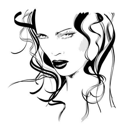 blue eyes girl: Hand-drawn fashion model. Vector illustration. Womans face