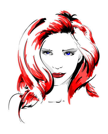 Hand-drawn fashion model. Vector illustration. Woman's face Stock Vector - 11612799