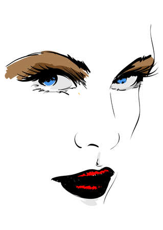freehand: Hand-drawn fashion model. Vector illustration. Womans face