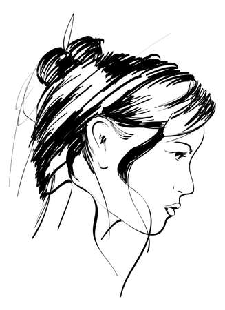 woman face profile: Hand-drawn fashion model. Vector illustration. Womans face