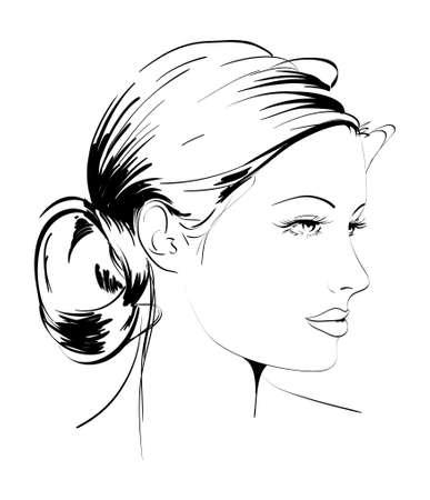 visage profil: Tir� par la main de mannequin. illustration. Visage d'une femme Illustration