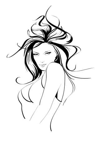 brunettes: Hand-drawn fashion model. Vector illustration. Womans face