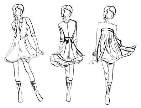 bocetos de personas: DIBUJO. las chicas de moda