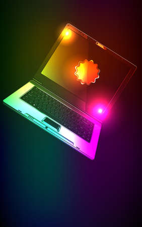 The computer in neon light. illustration Vector