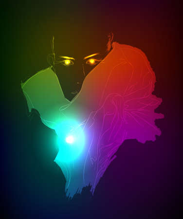 Hand-drawn fashion model from a neon. Vector illustration. A light girl's face. Stock Vector - 11613472
