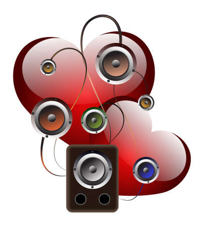 Abstract background with .Loudspeakers and hearts. A   background for valentines day Vector