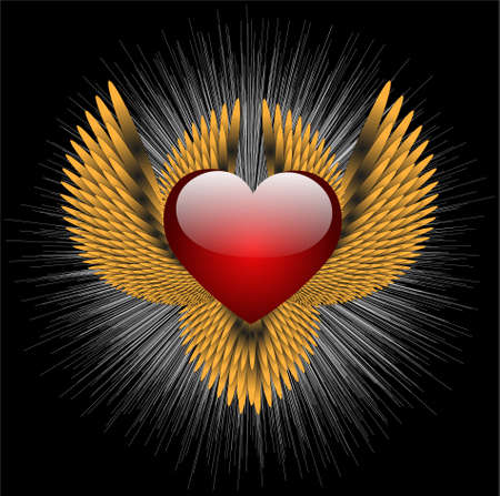 abstract heraldic sign with heart Vector